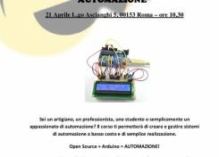 """Workshop gratuito """"ARDUINO - SISTEMI DI AUTOMAZIONE"""""""